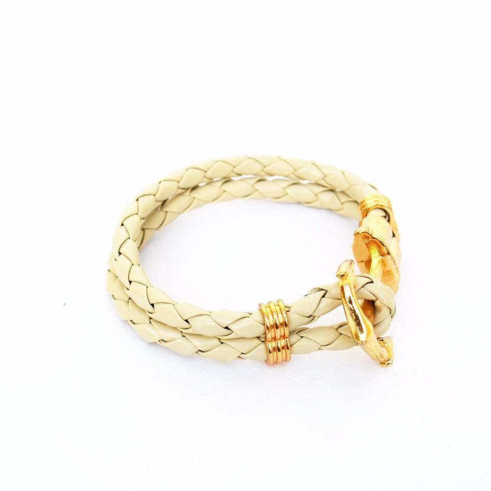 Beige and golden Anchor Braided Bracelet