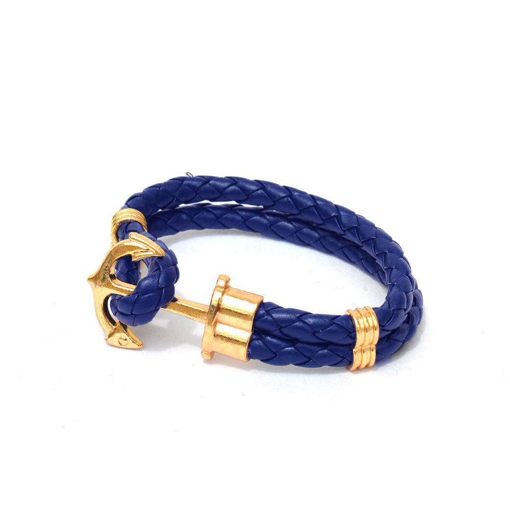 Blue Anchor  Braided Bracelet