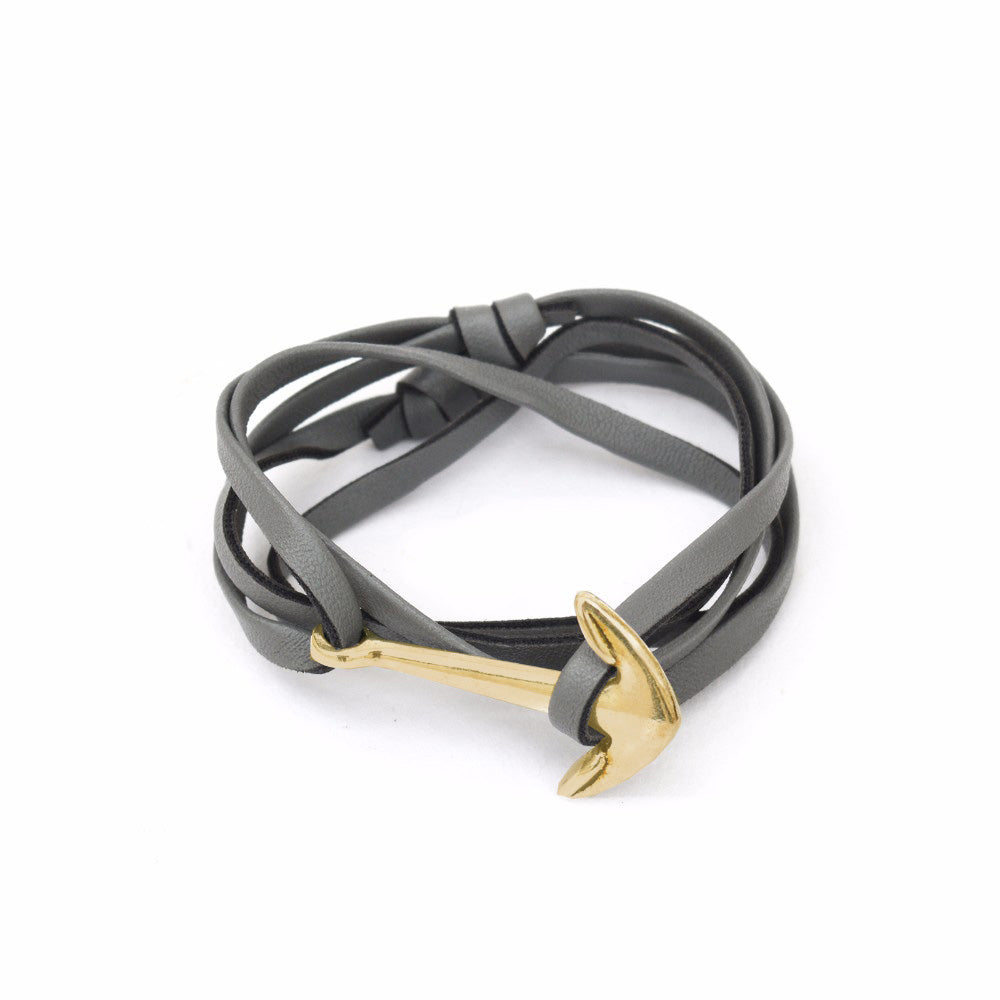 Grey & Gold Anchor Loop Bracelet