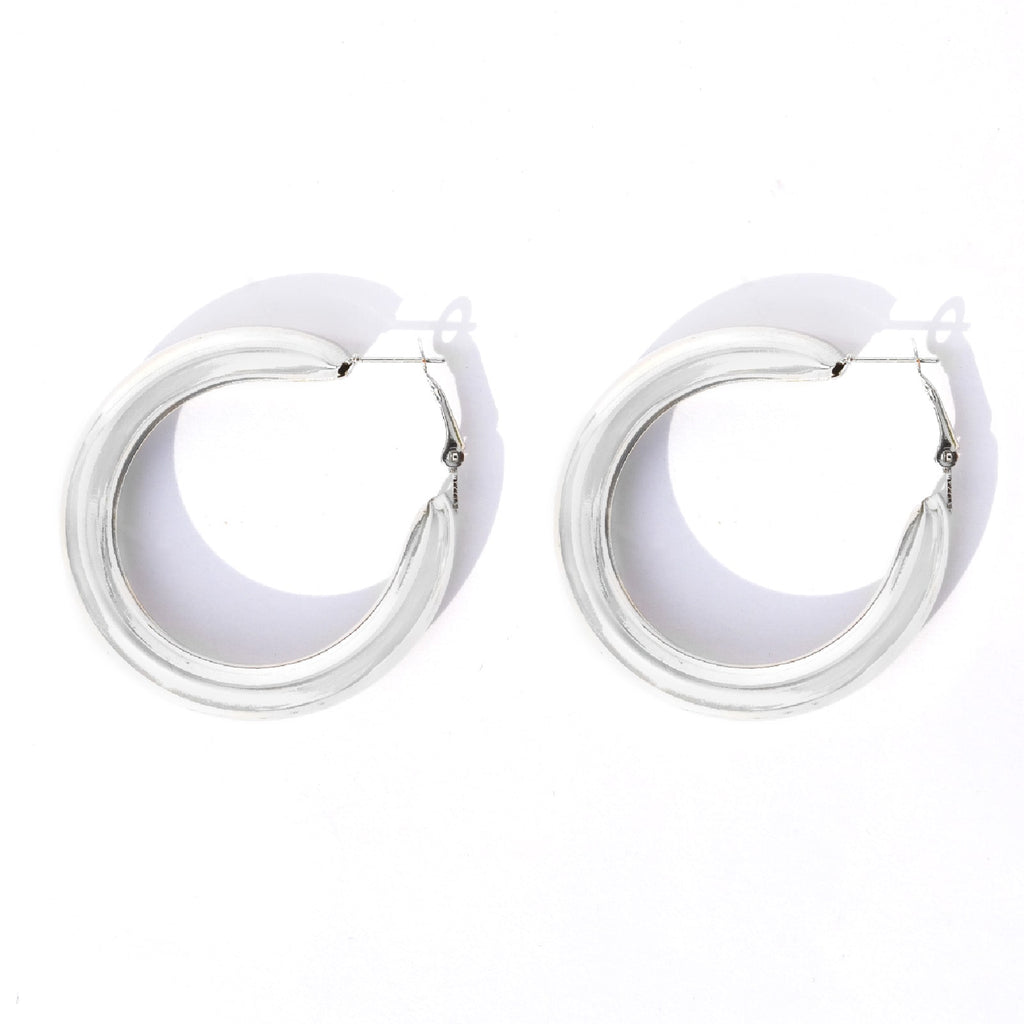 Classic Bold Silver Hoops