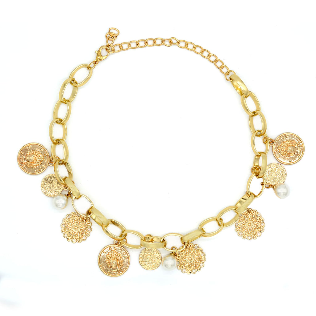 Gold Coin and pearl choker - Joker & Witch