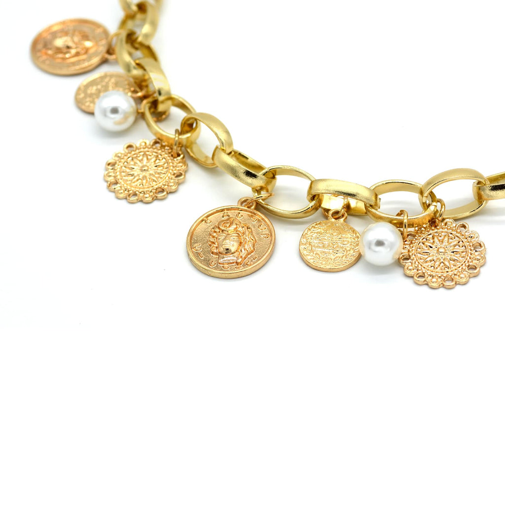 Gold Coin and pearl choker