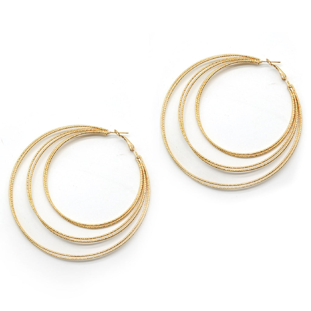Multihooped Gold Earring
