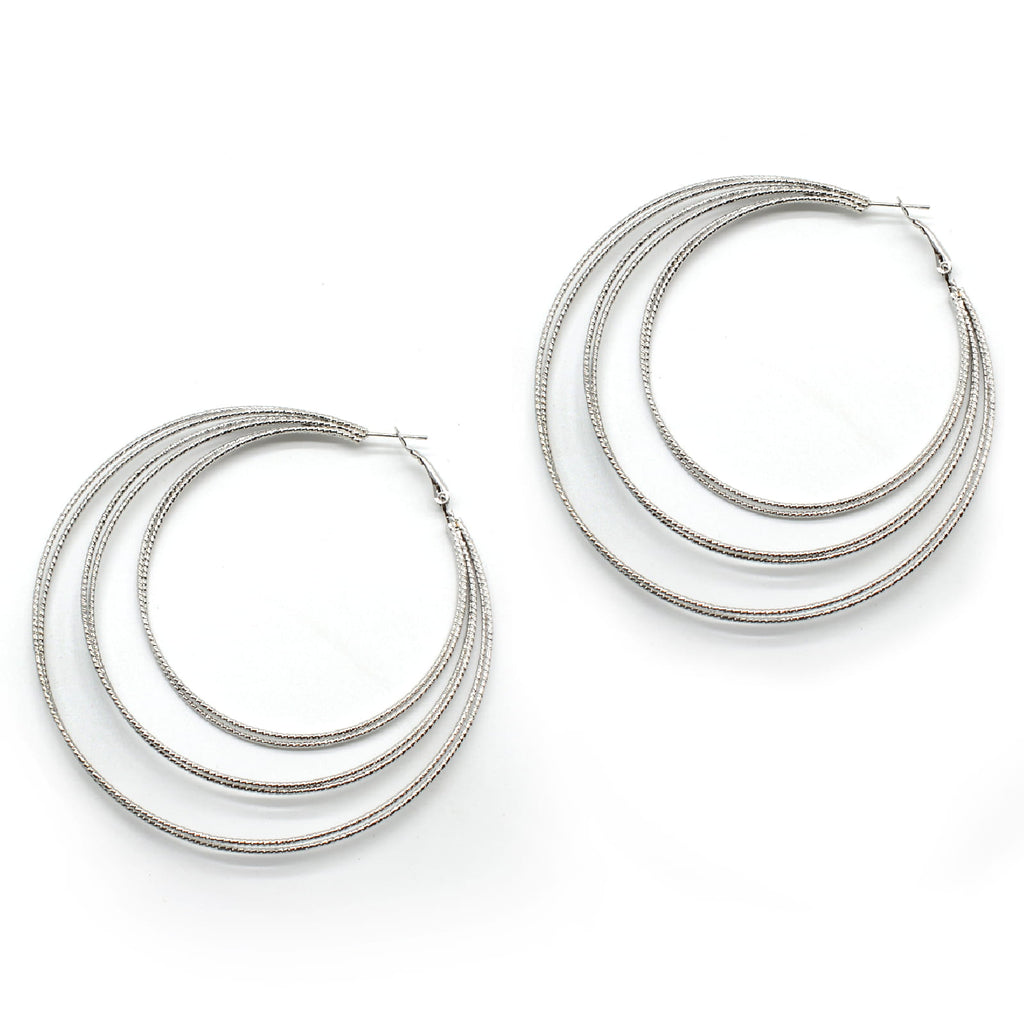 Multihooped Silver Earring - Joker & Witch