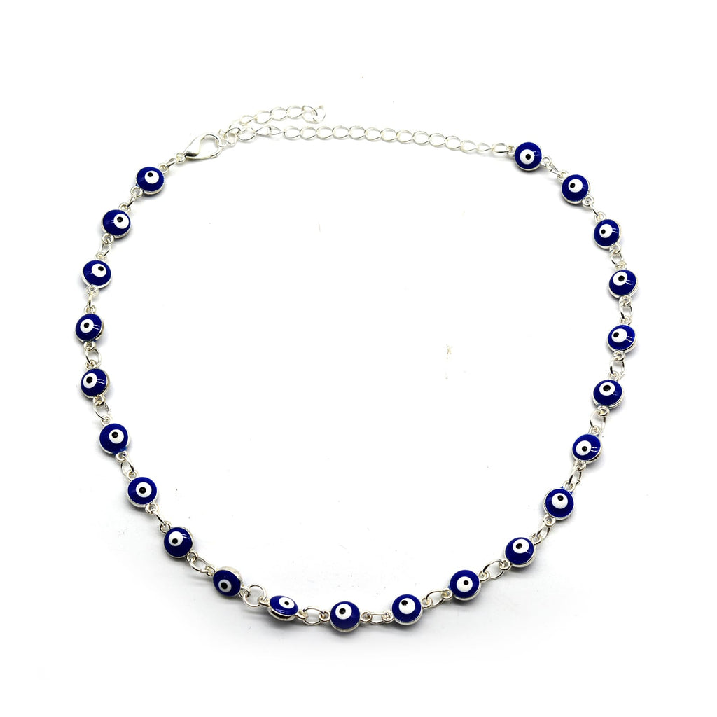 Blue Evil Eye Silver Choker