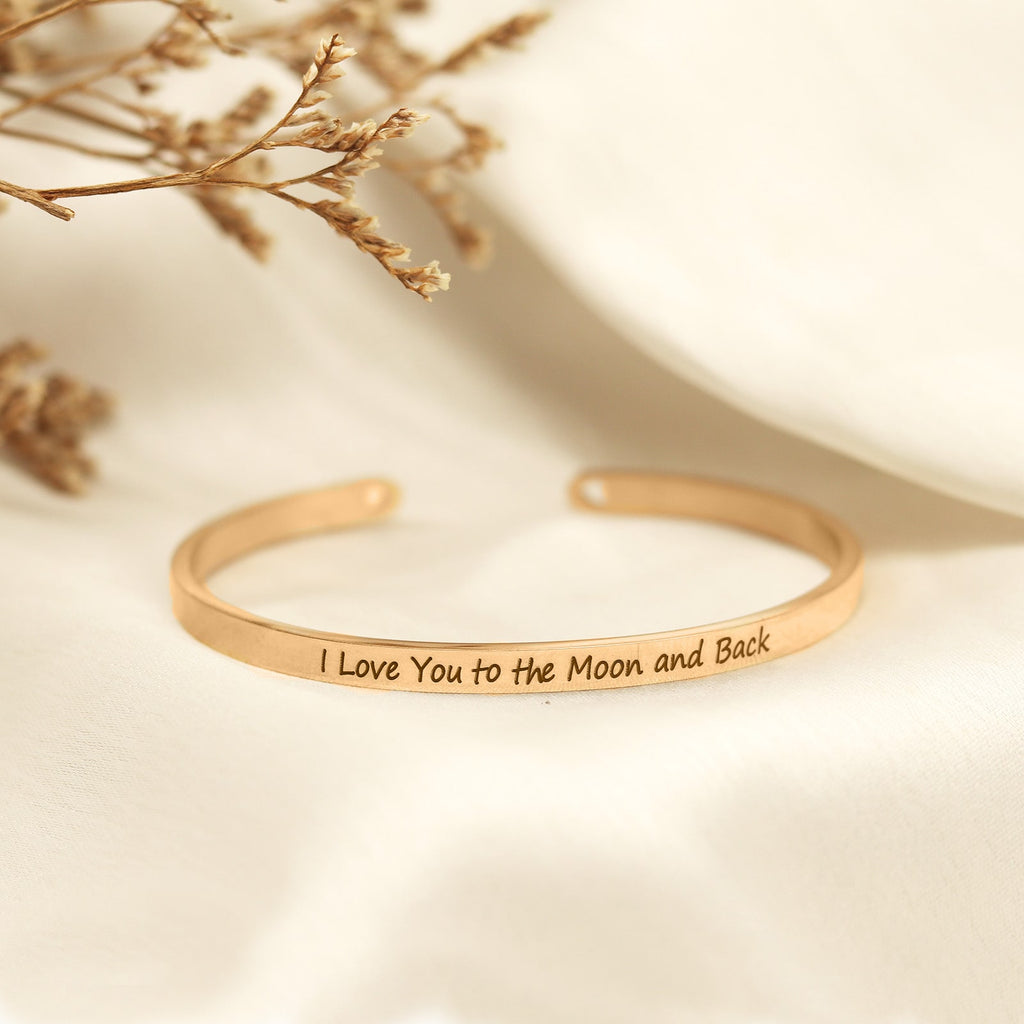 I Love You To The Moon And Back Rose Gold Mantra Bands