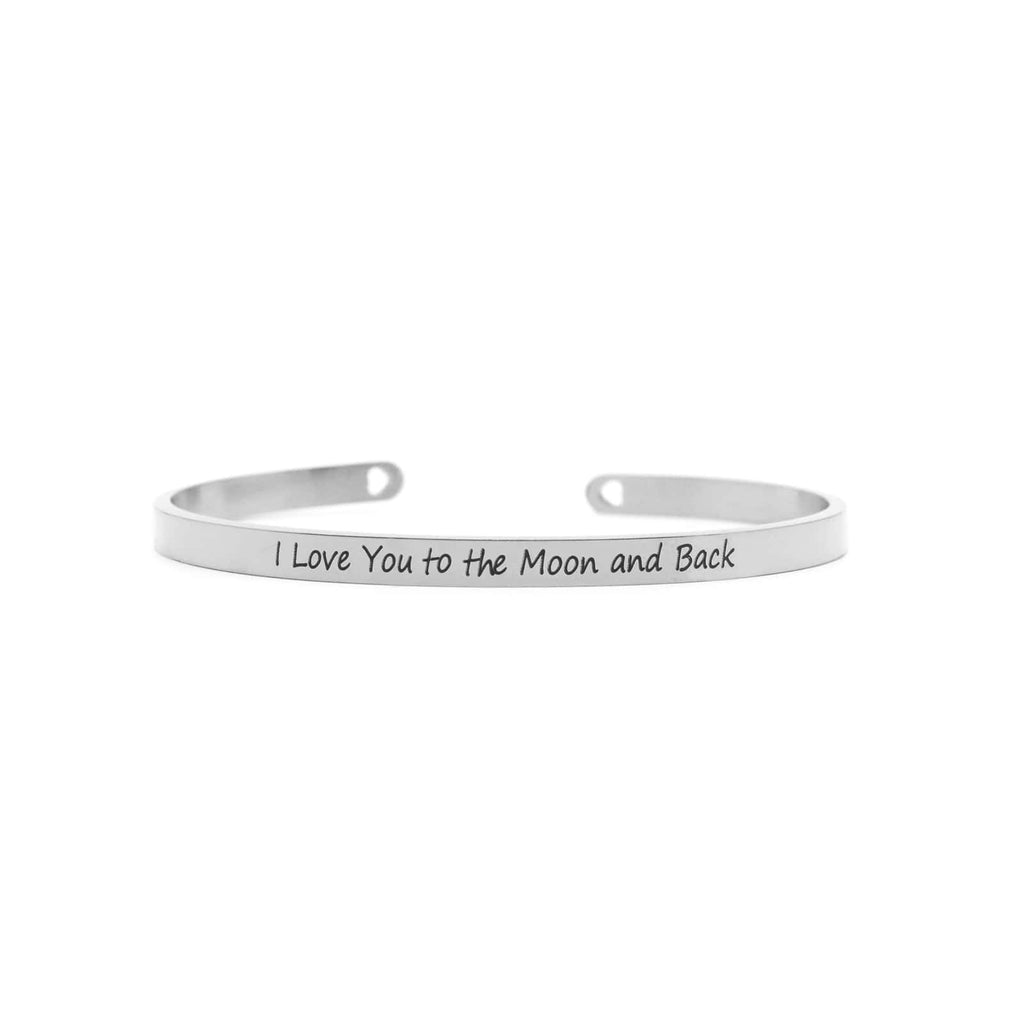 I Love You To The Moon And Back Silver Mantra Bands - Joker & Witch