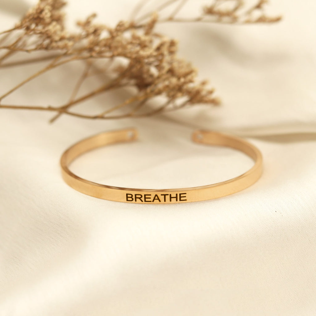 Breathe Rose Gold Mantra Band
