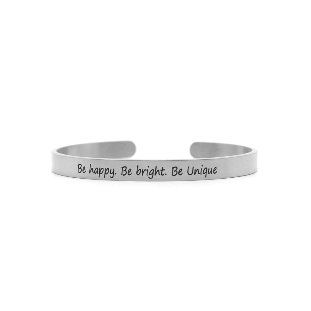Be Happy, Be Bright, Be Unique Silver Mantra Band - Joker & Witch