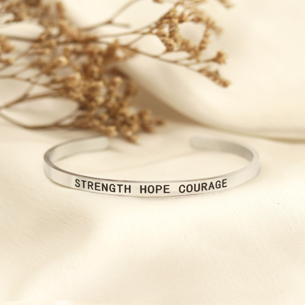 Strength Hope Courage Silver Mantra Band - Joker & Witch