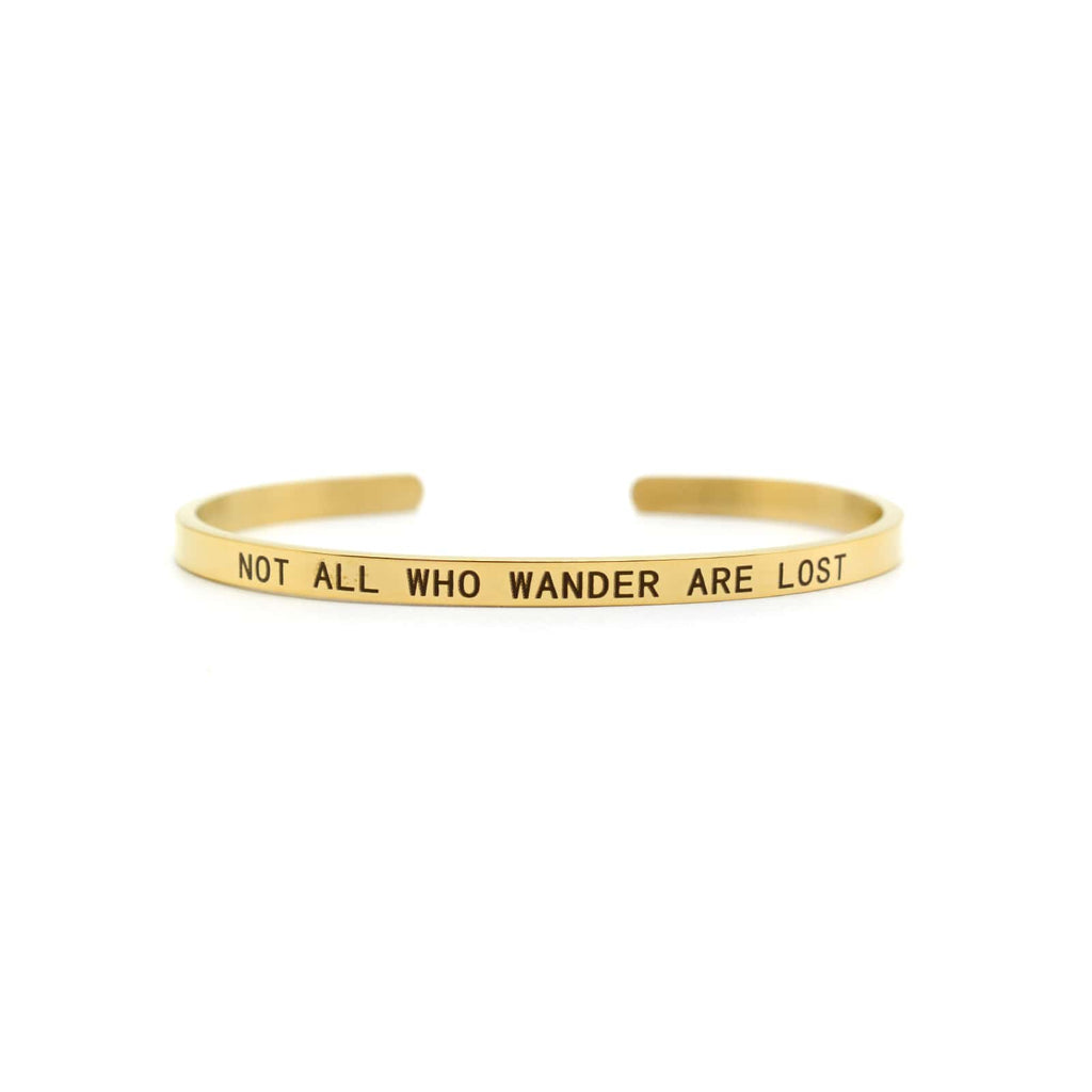 Not All Who Wander Are Lost Gold Mantra Band - Joker & Witch