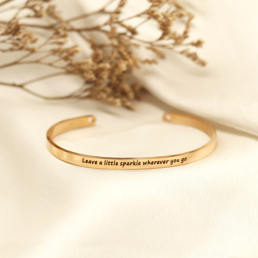 Leave A Little Sparkle Wherever You Go Rose Gold Mantra Band - Joker & Witch