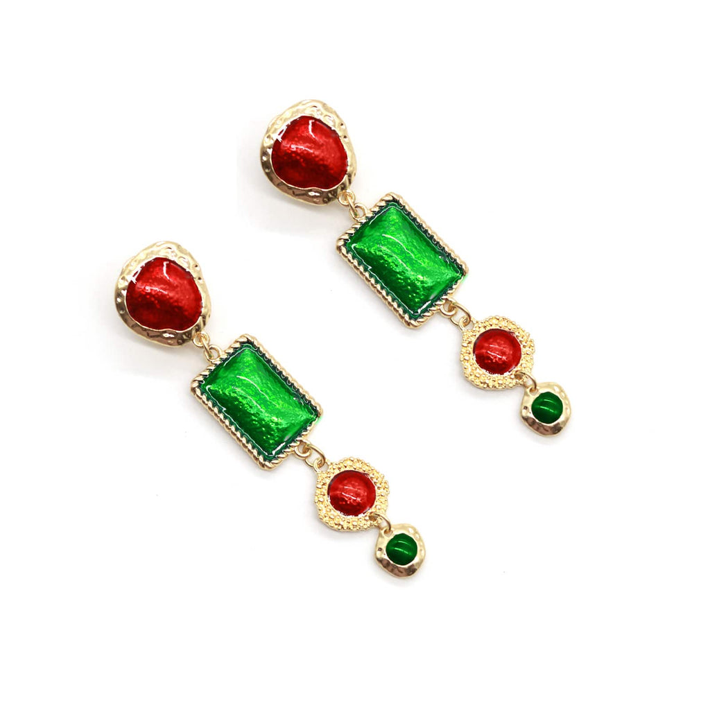 martin red & green drop earring