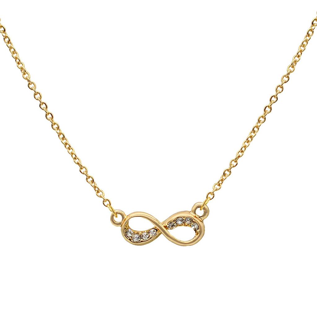 Rhinestones Studded Infinity Gold Necklace - Joker & Witch