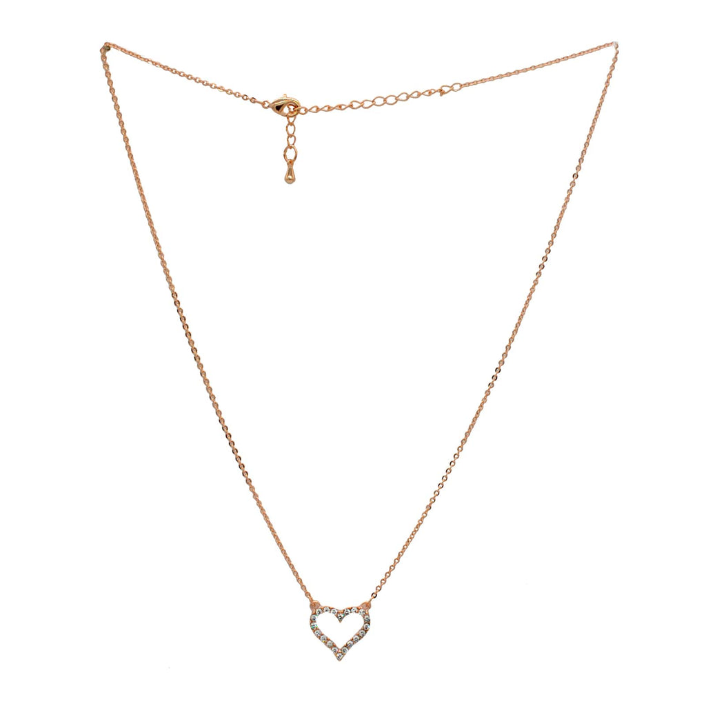 ELEGANT HEART CHARM ROSEGOLD NECKLACE - Joker & Witch