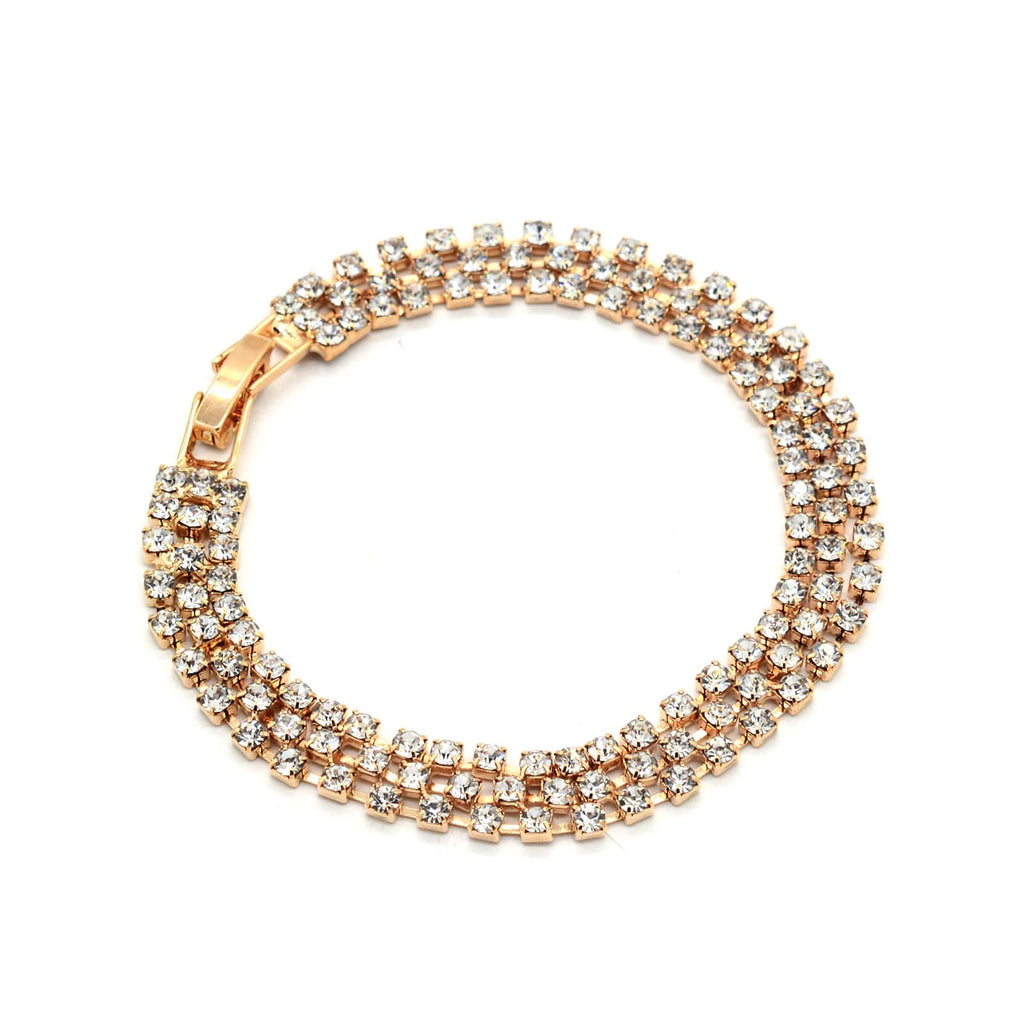 Lily Rhinestones Studded Gold Bling Bracelet - Joker & Witch