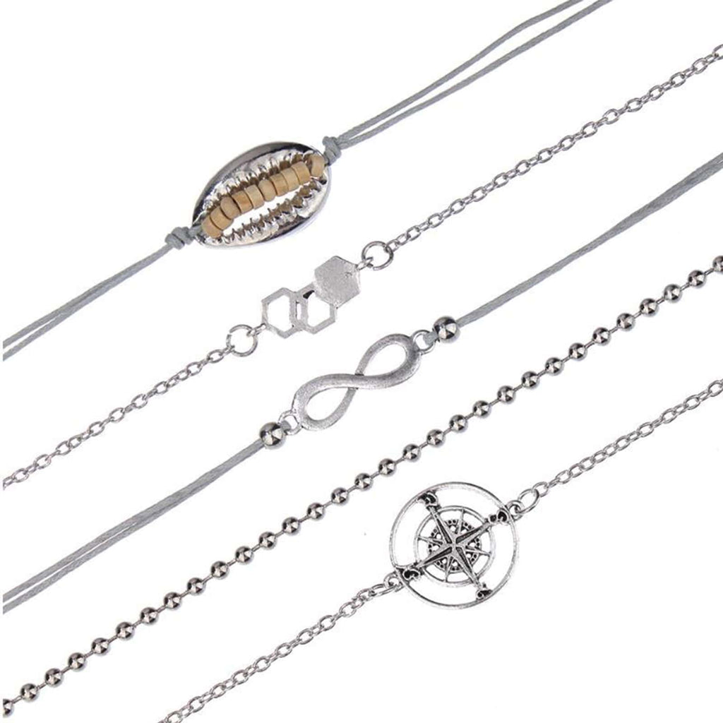 Set The Mood For Everything: Vacay Mood Set Of 6 Silver Bracelets