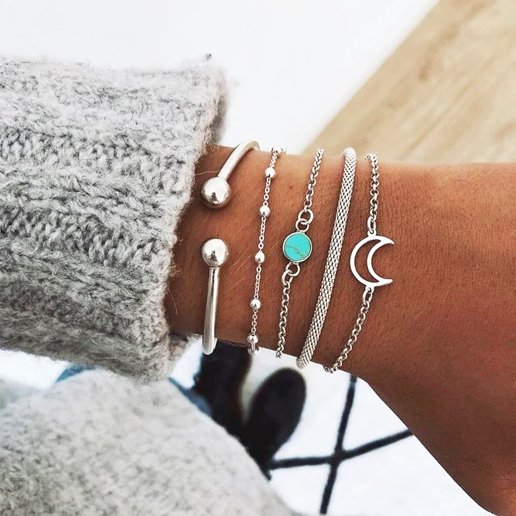 Cold Moon set of 5 Silver Bracelets