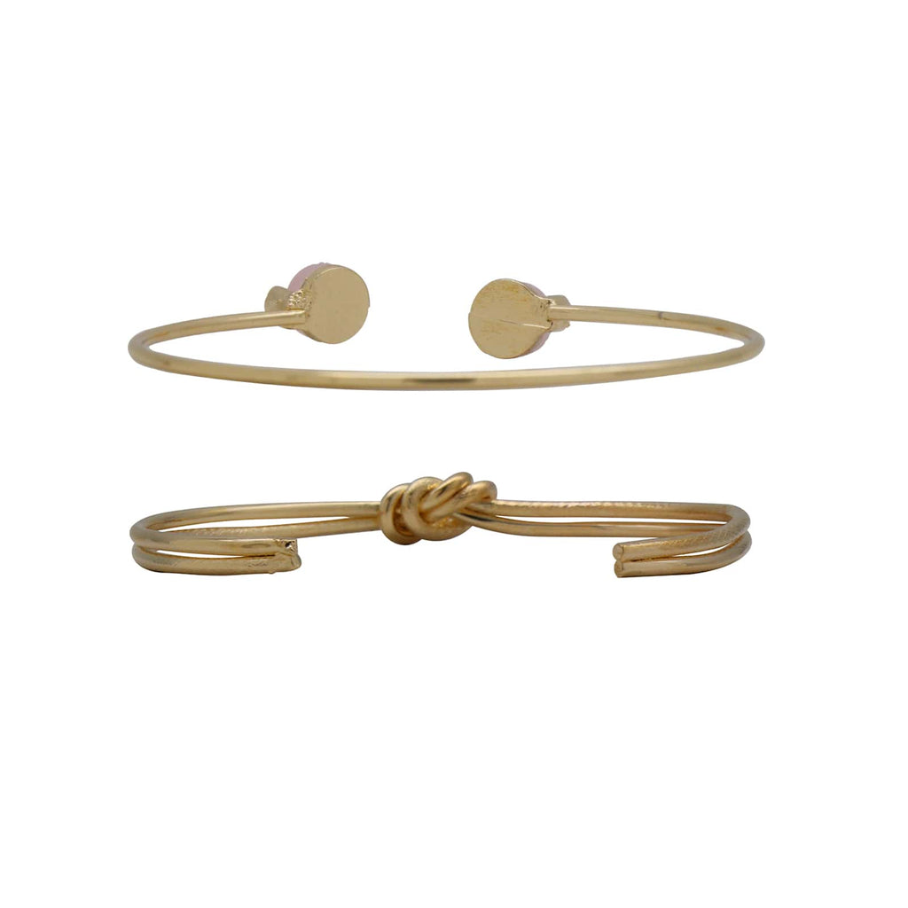 Amelia Pink Set of 2 Gold Bracelets