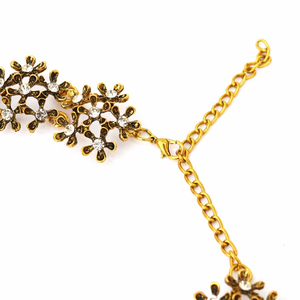 Vintage Charm Gold Floral Necklace