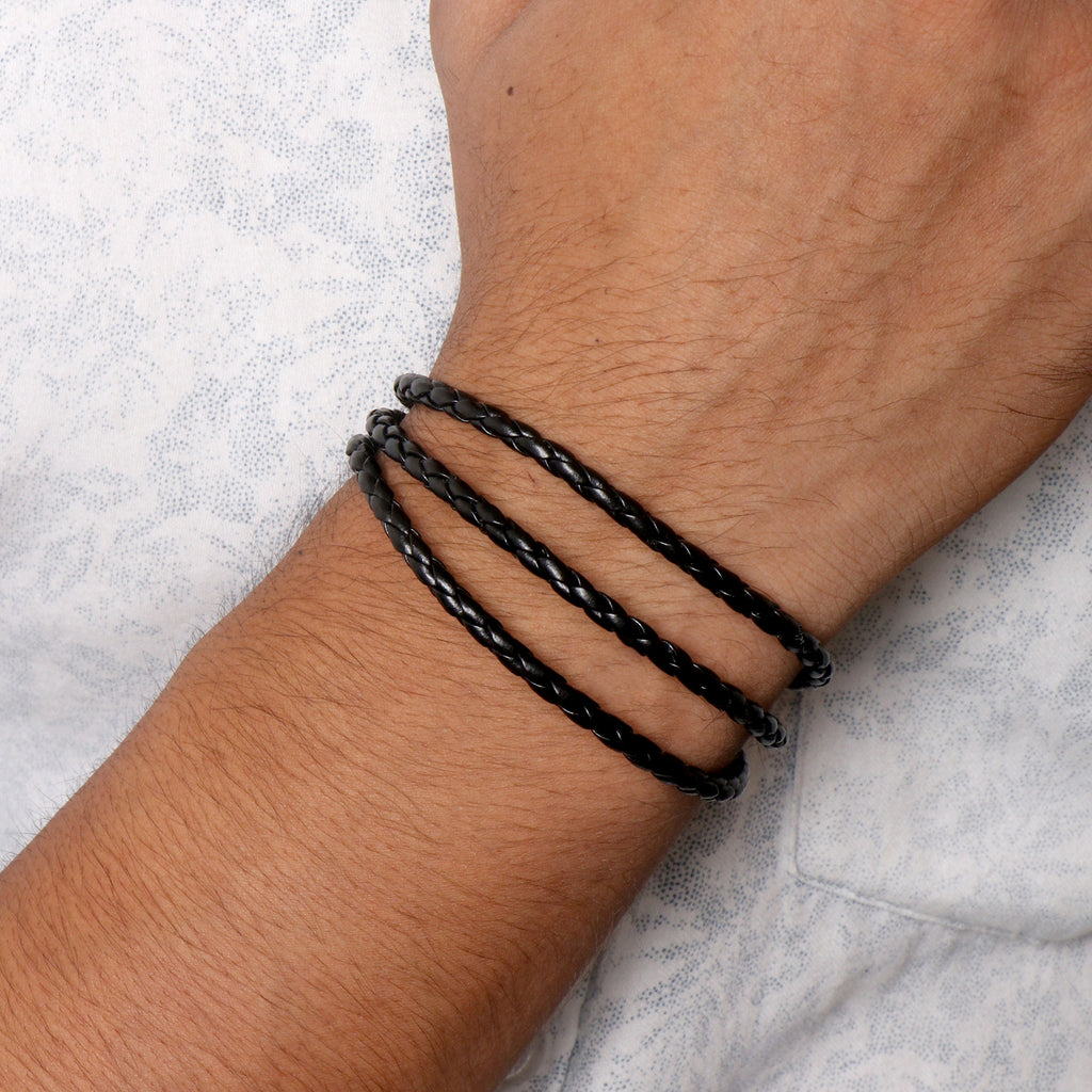Aaron Braided Wrap Around Black Men's Bracelet