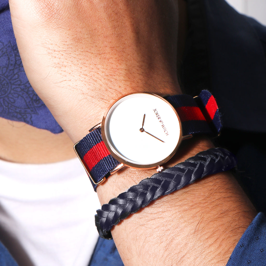 Nautical Blue & Red Nato Men's Watch Bracelet Stack