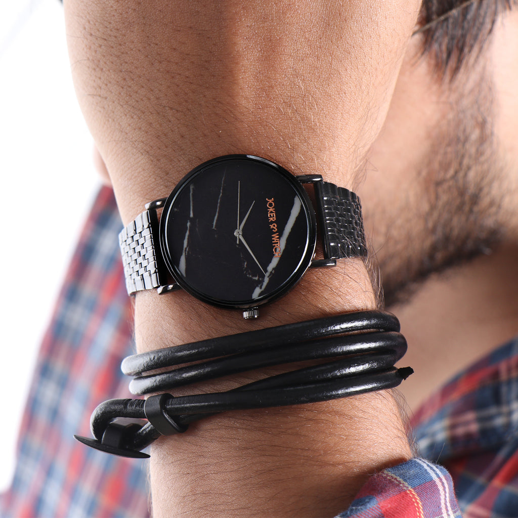 Stormy Black Men's Watch Bracelet Stack
