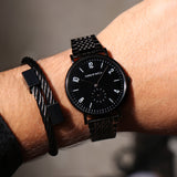 Coal Black Men's Watch Bracelet Stack