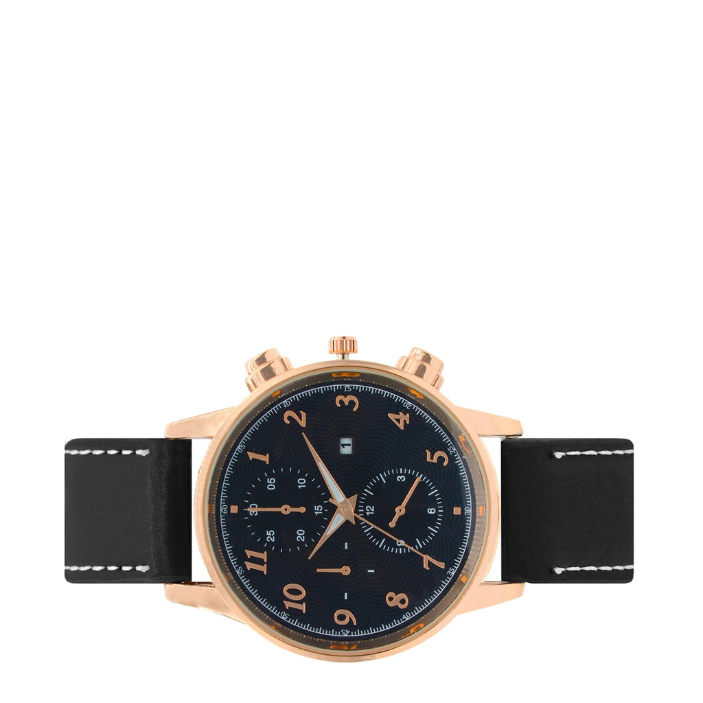 LIAM CHRONO BLACK DIAL FAUX LEATHER STRAP ROSEGOLD MEN'S  WATCH - Joker & Witch