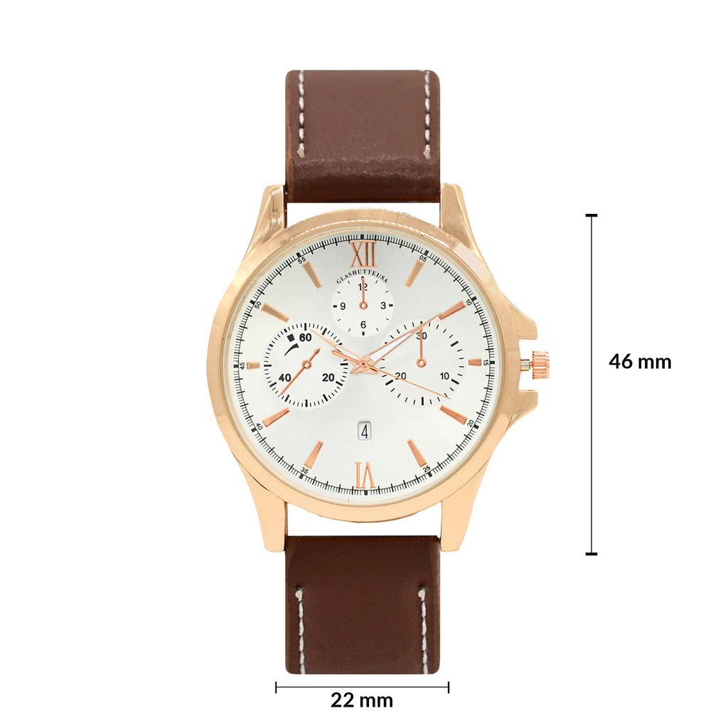 max faux leather strap brown men's  watch - Joker & Witch