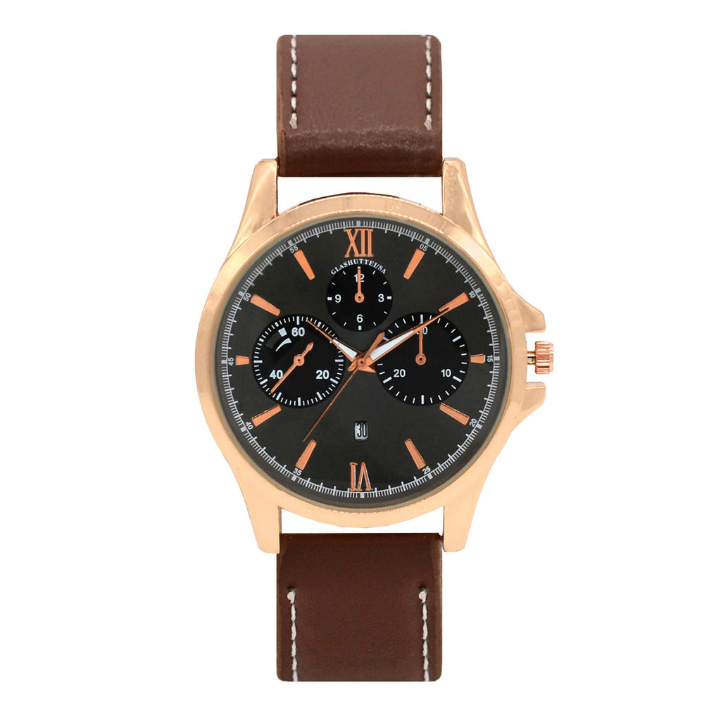 ADAM CHRONO FAUX LEATHER STRAP BROWN MEN'S  WATCH - Joker & Witch