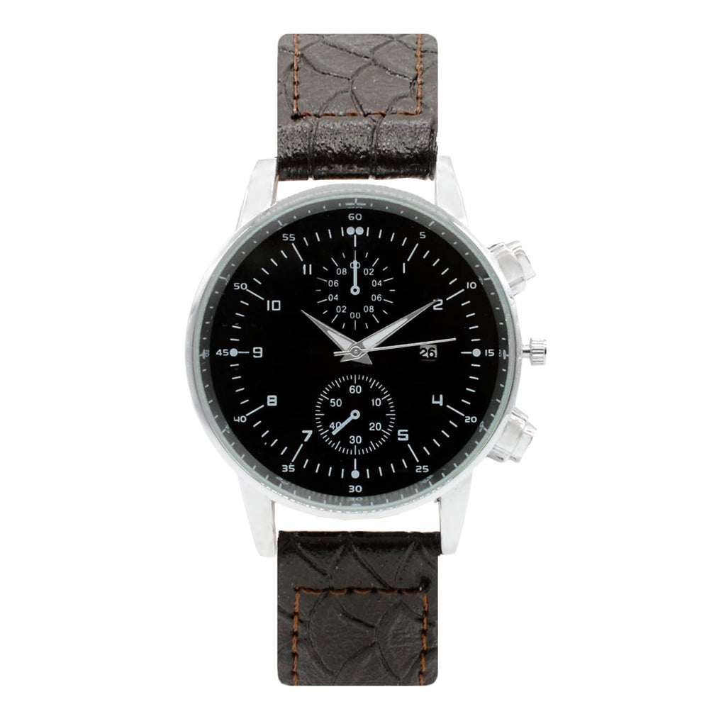 HARLEY CHRONO DIAL FAUX BROWN LEATHER STRAP MEN'S  WATCH - Joker & Witch