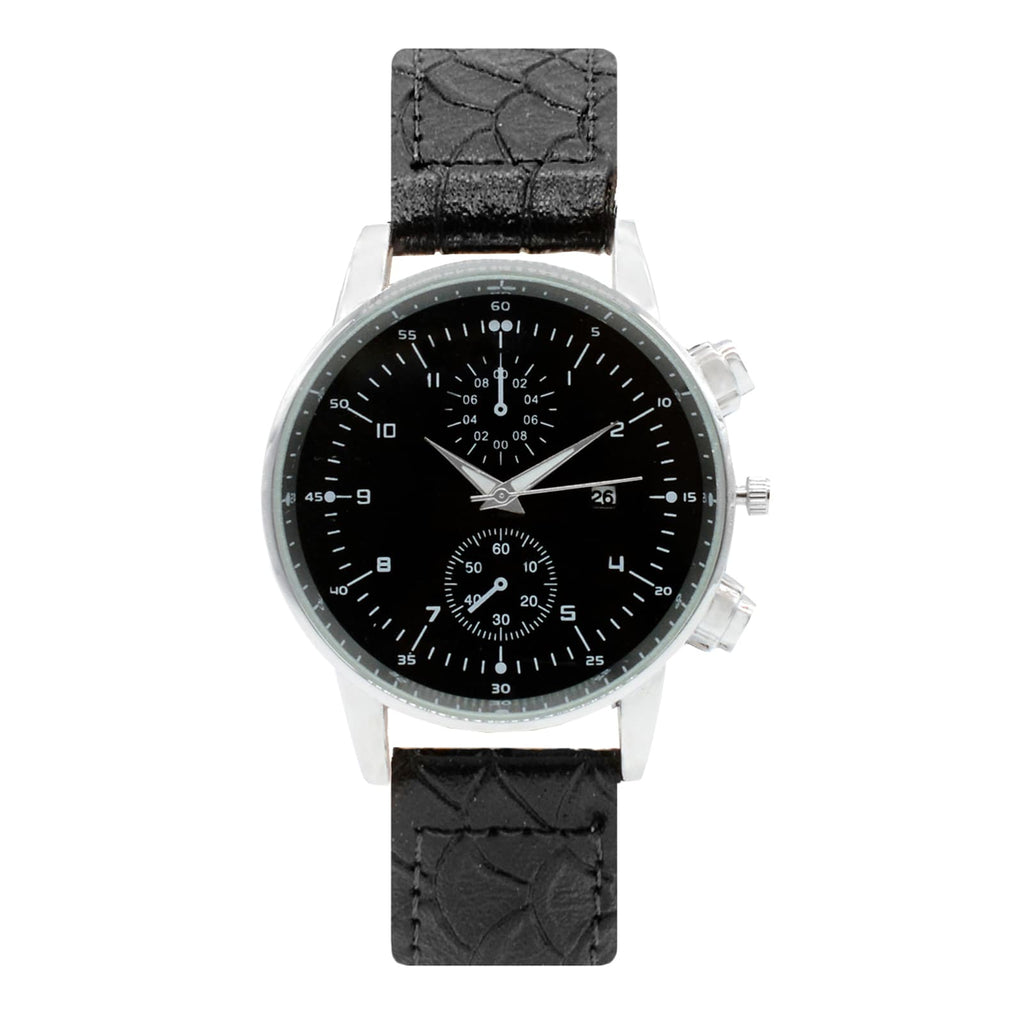HARLEY CHRONO BLACK DIAL FAUX LEATHER STRAP MEN'S  WATCH - Joker & Witch