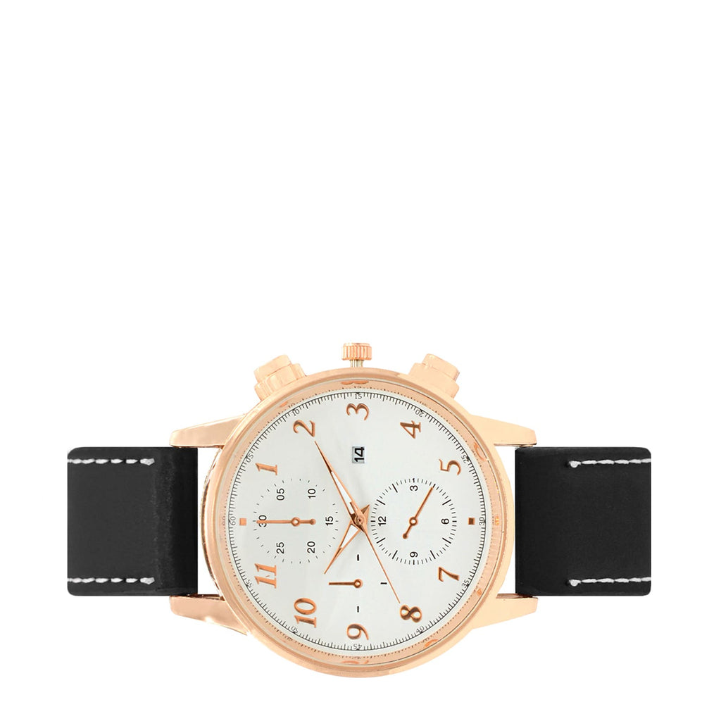 LIAM CHRONO WHITE DIAL FAUX LEATHER STRAP ROSEGOLD MEN'S  WATCH - Joker & Witch