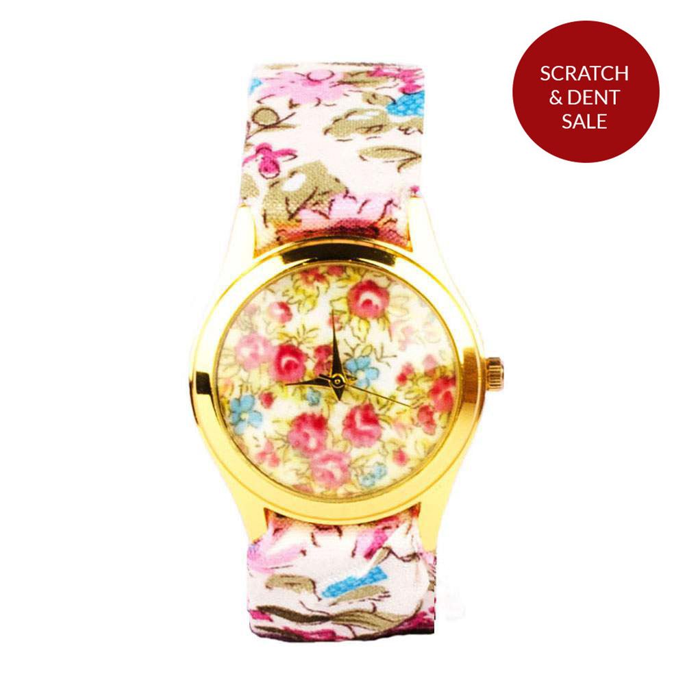 FLORAL PRINT FABRIC WHITE WATCH