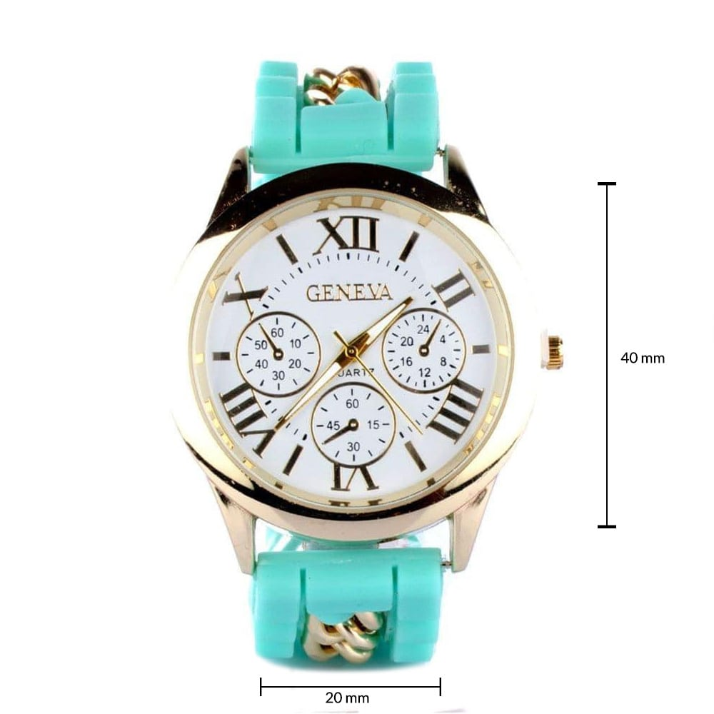 Chained Turquoise Silicone Watch
