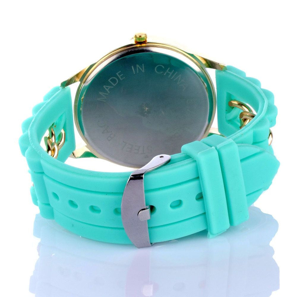Chained Turquoise Silicone Watch - Joker & Witch - 4