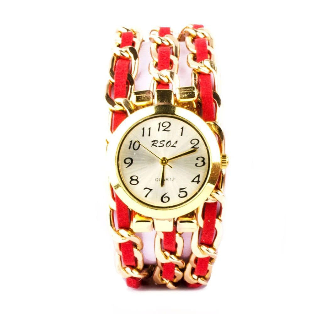 Metal & Suede Red Bracelet Watch - Joker & Witch - 1