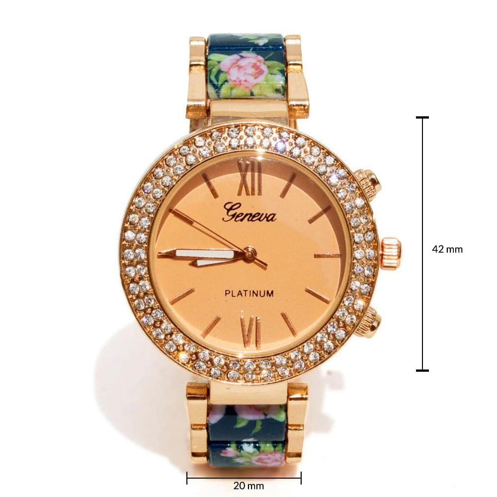 Floral strap Blue & rosegold watch