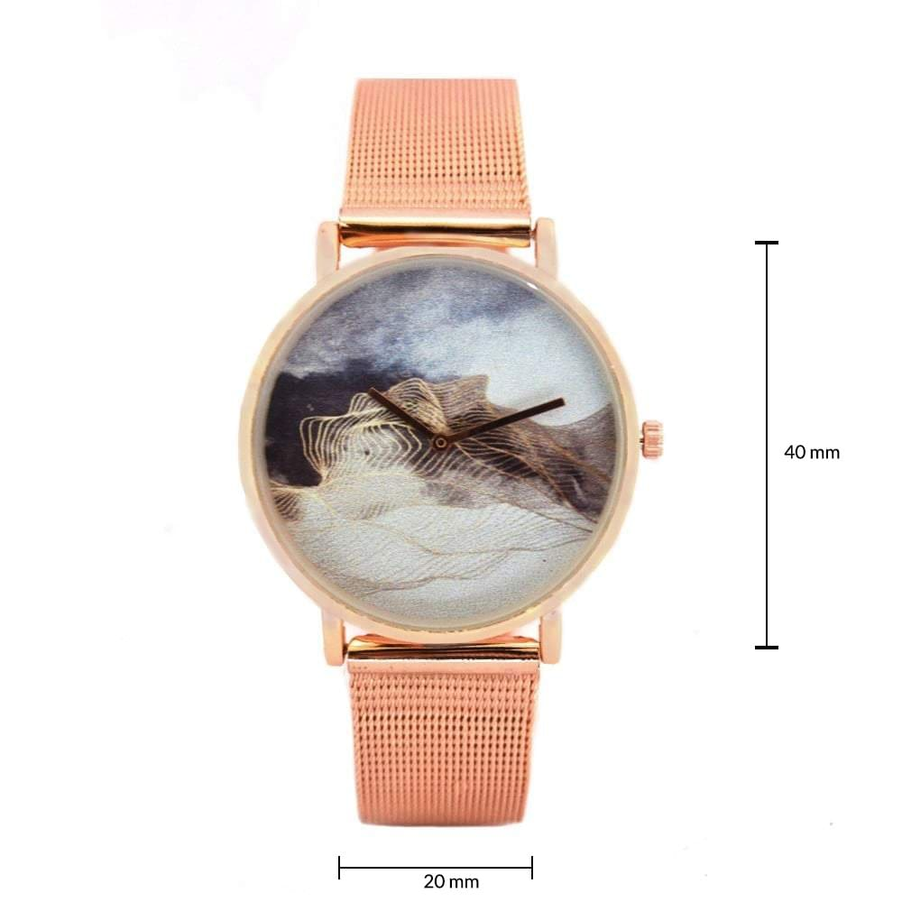 Cheryl Metallic Rosegold Graphic Watch