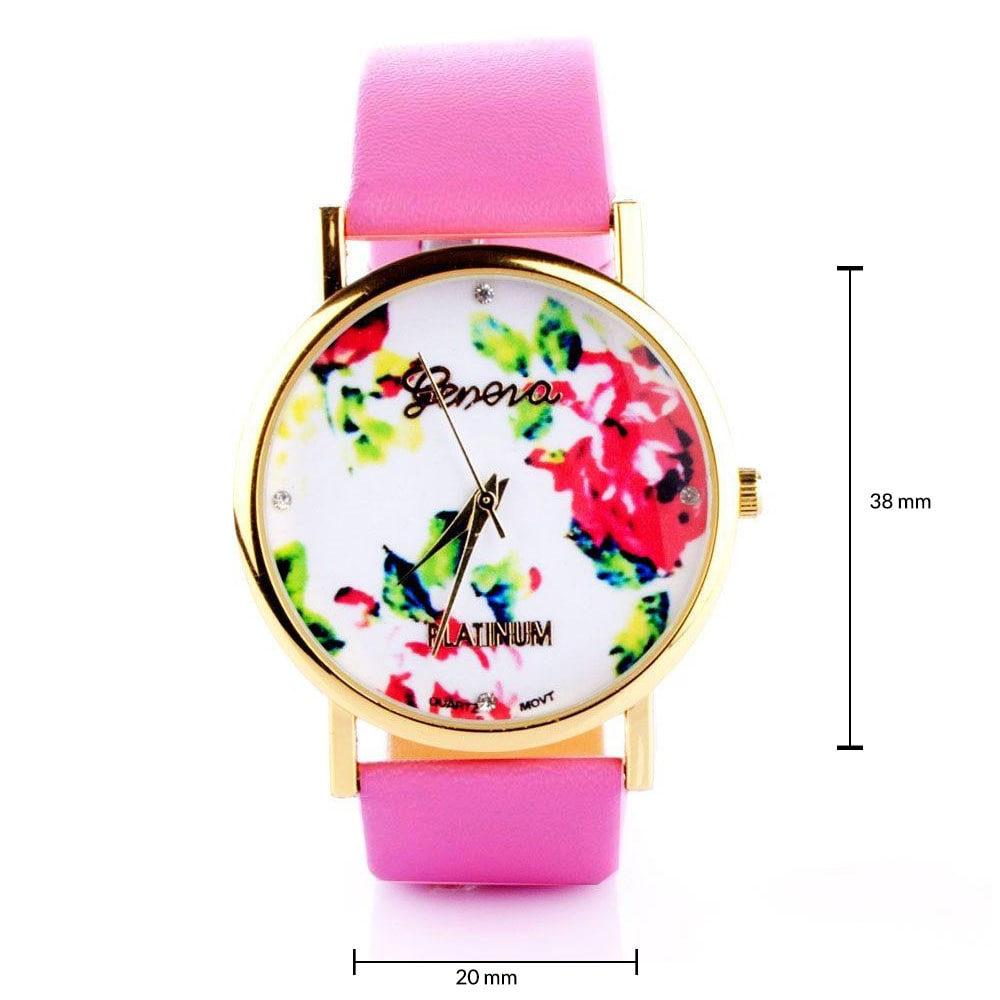 Floral Hot Pink Watch
