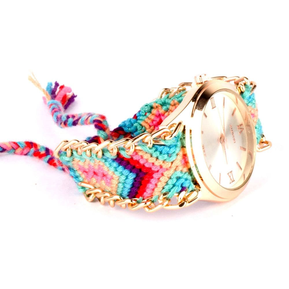 Bohemian Multi coloured Braided Bracelet Stack
