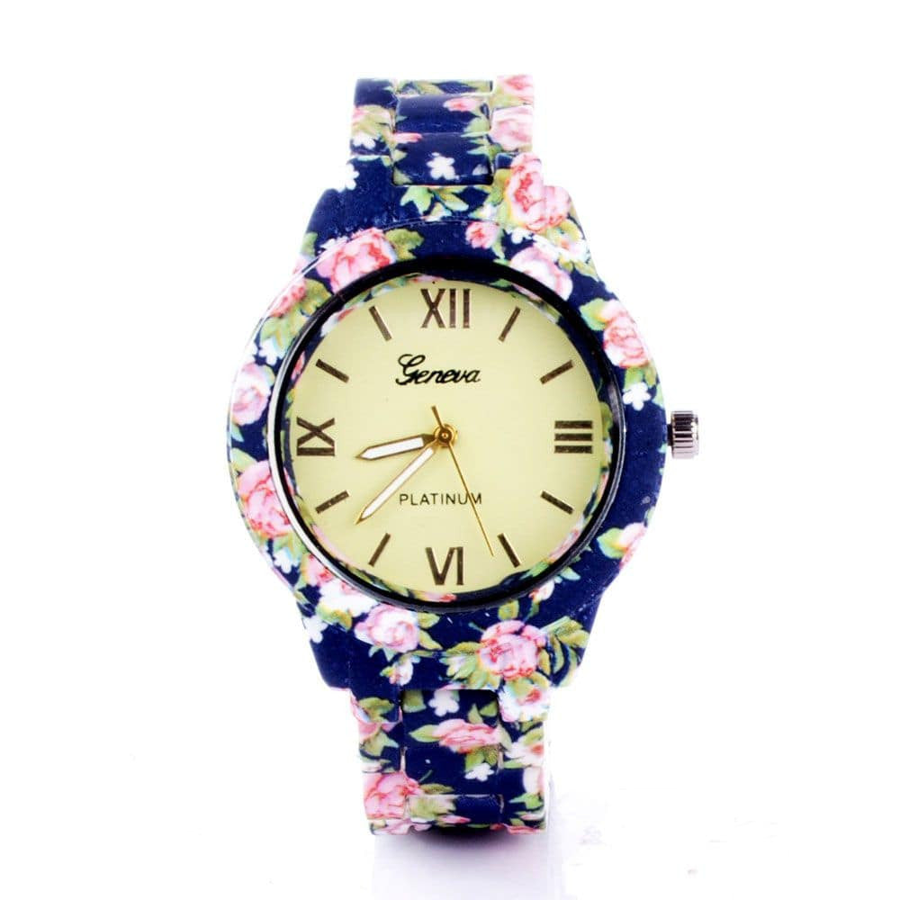 Blue & Pink Floral Strap Watch - Joker & Witch