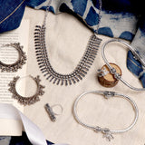 Megha Metallic Silver Oxidized Jewelry Gift Set