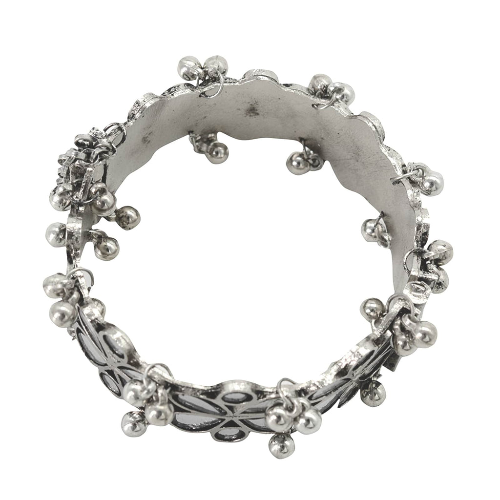 Palash Silver Oxidized Ghungroo Mirror Bangle - Joker & Witch