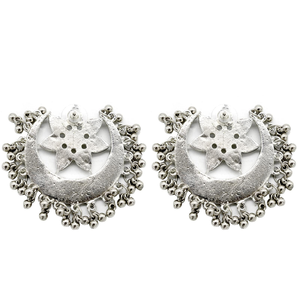 Akashi Silver Oxidized Mirror Earrings - Joker & Witch