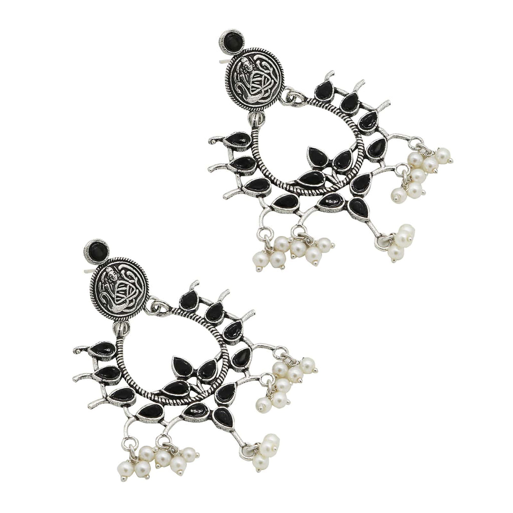 Charvik Black Silver Oxidized Earrings - Joker & Witch