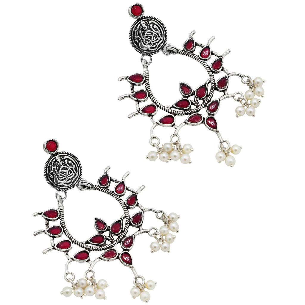 Charvik Red Silver Oxidized Earrings - Joker & Witch