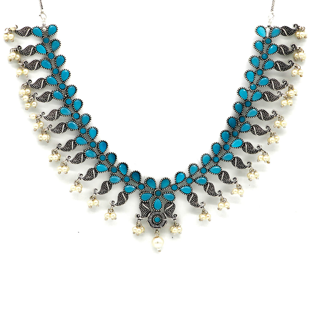 Niranjana Light Blue Stone Silver Oxidized Necklace Set - Joker & Witch