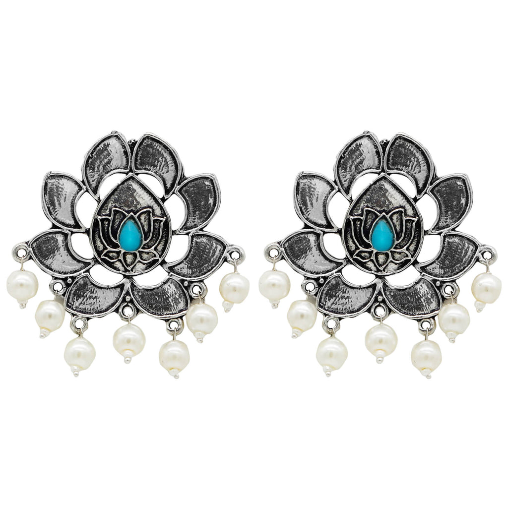 Kairav Lotus Silver Oxidized Earrings - Joker & Witch